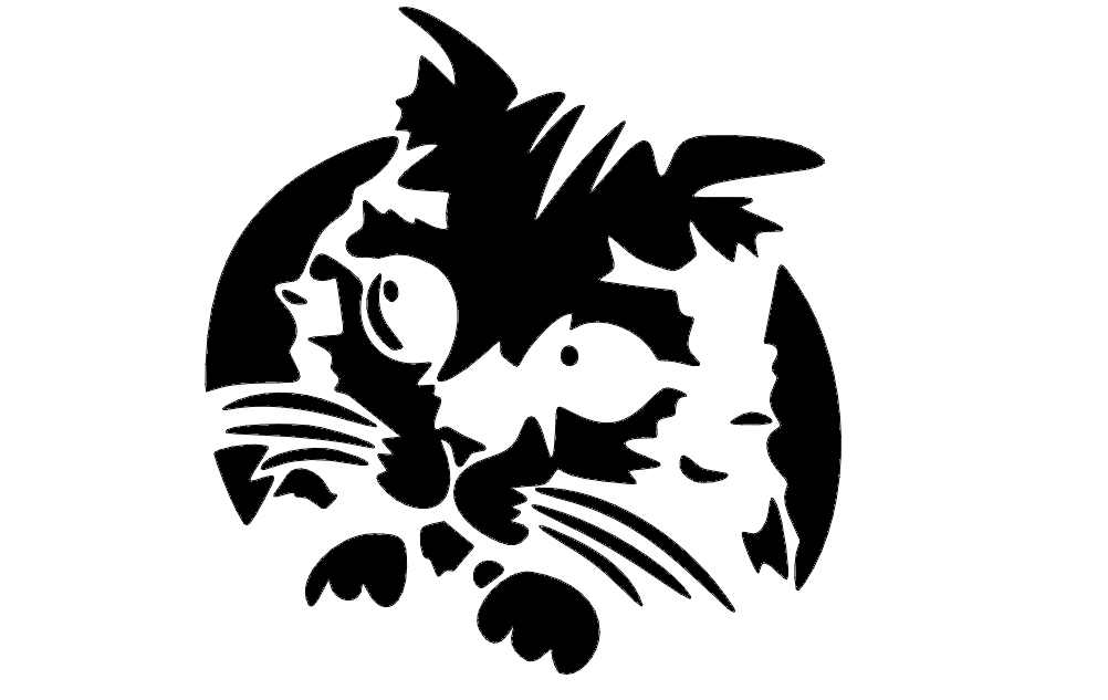 Kitty Cat Silhouette Free DXF File