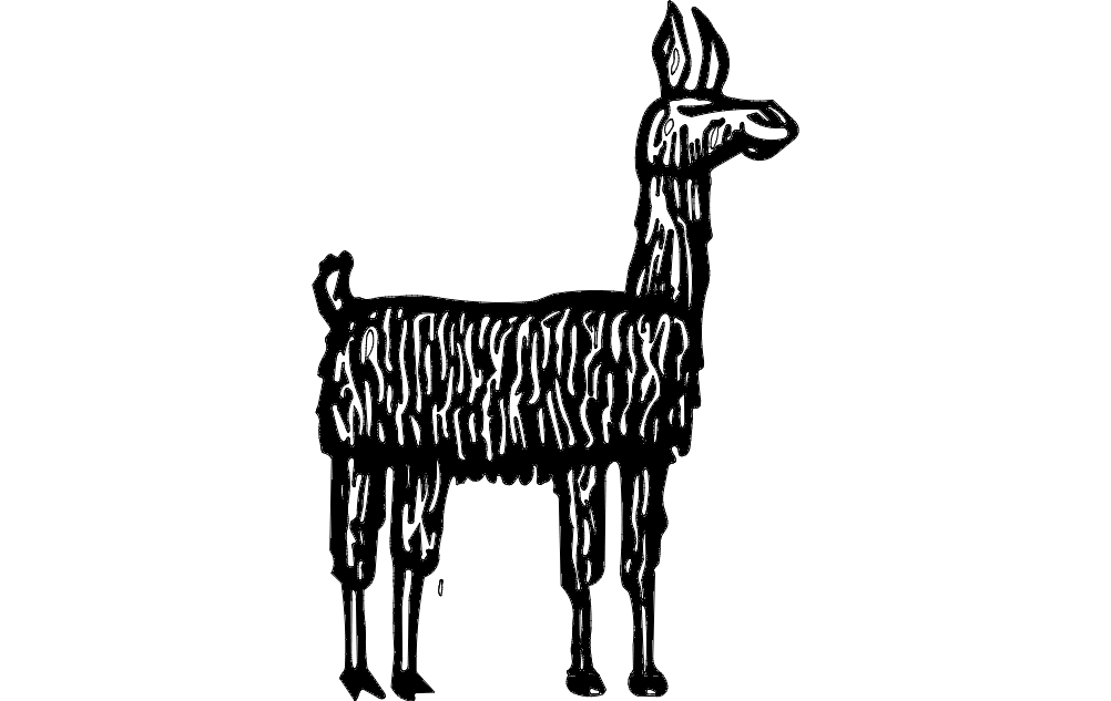 Lama Standing Silhouette Free DXF File