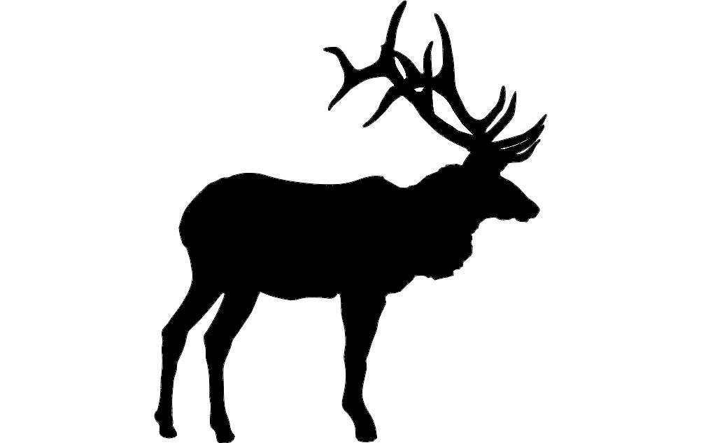 Large Bull Elk Silhouette Free DXF File