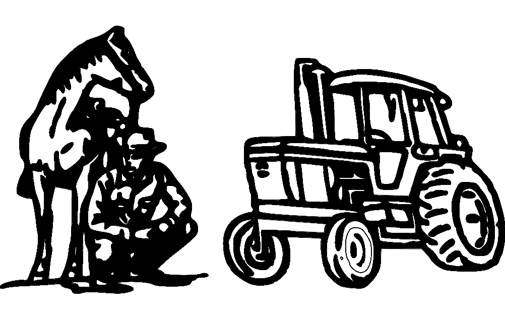 Tractor Horse And Man Free DXF File