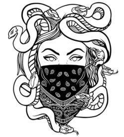 Girl With A Snake Head For Laser Engraving Machines Free CDR Vectors Art