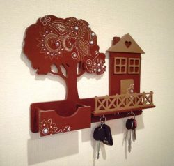 Key Hanger Shaped House And Tree For Laser Cut Cnc Free CDR Vectors Art