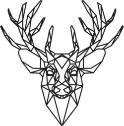 Panel Polygonal Deer Head For Laser Cut Free CDR Vectors Art