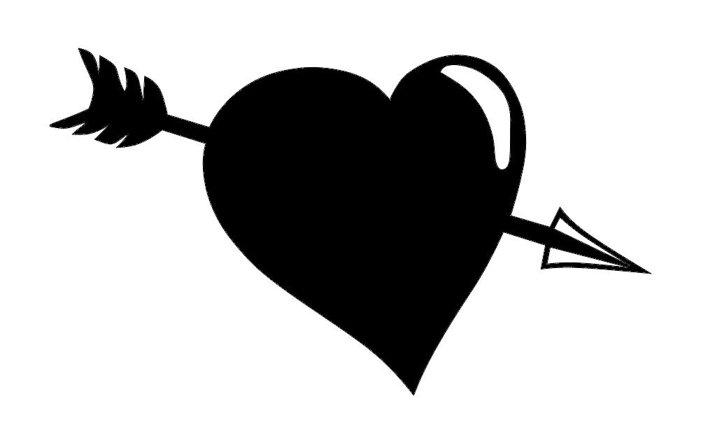 Arrow Heart Silhouette Free DXF File