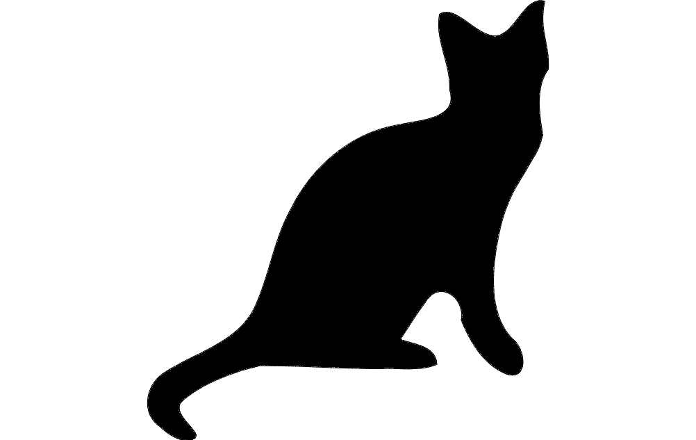 Cat Silhouette Black Free DXF File