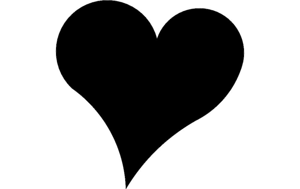 Heart Black Silhouette Free DXF File