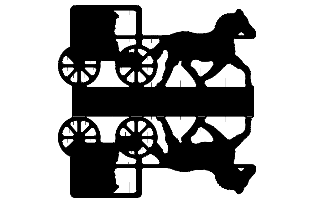Horse Cart Silhouette Free DXF File