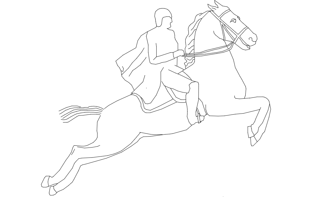 Horse With Rider Jumping Free DXF File