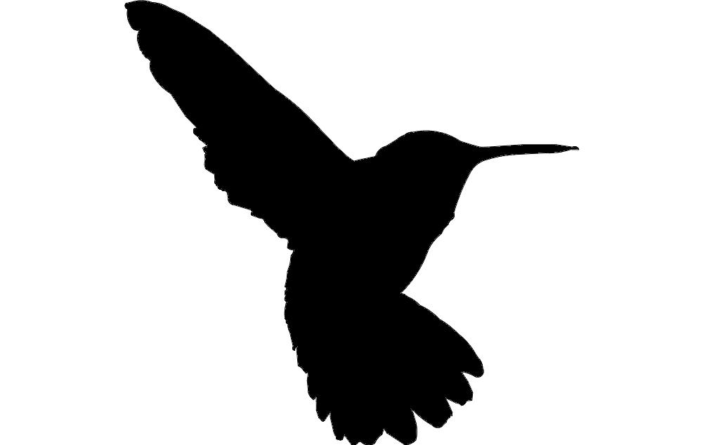 Humming Bird Silhouette Free DXF File