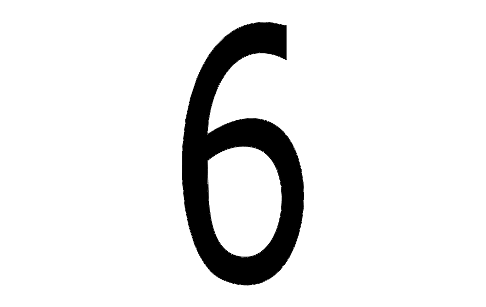 Number 6 Free DXF File