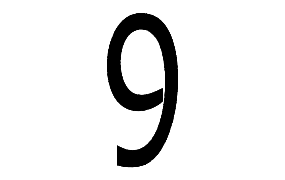 Number 9 Solid Free DXF File