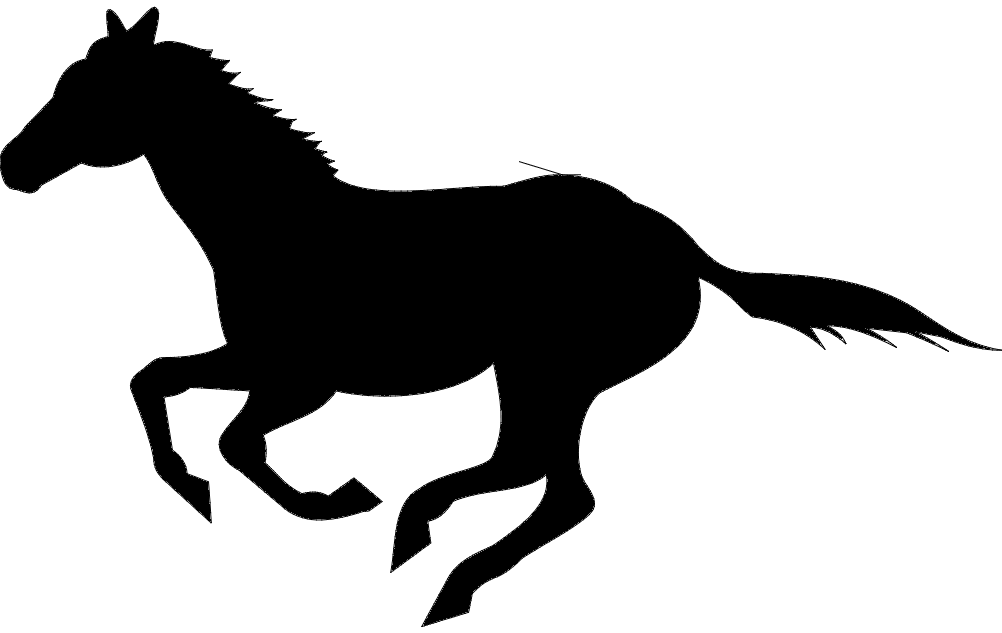 Running Horse Silhouette Black Free DXF File