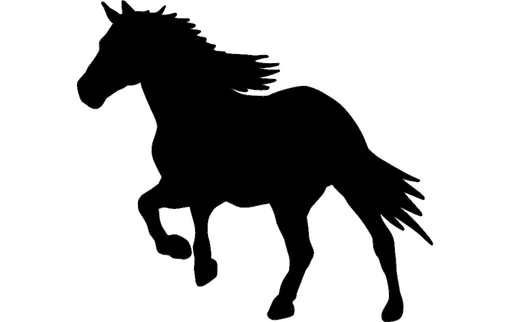 Silhouette Horse Running Free DXF File