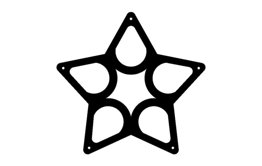 Wine Rack Star Free DXF File