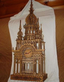 Wooden Clock Tower For Laser Cut Free DXF File