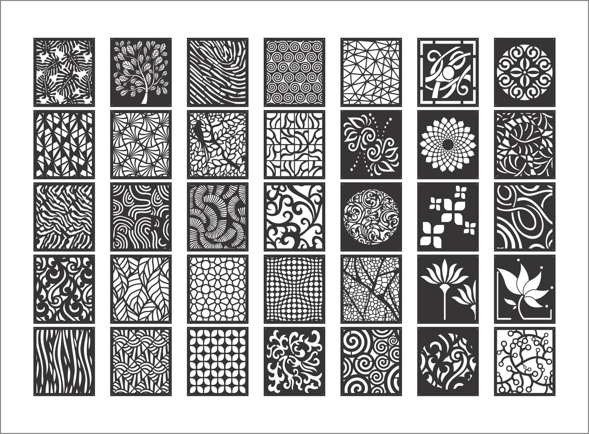 Laser Cut Decorative Screen Patterns Best Collection Free DXF File