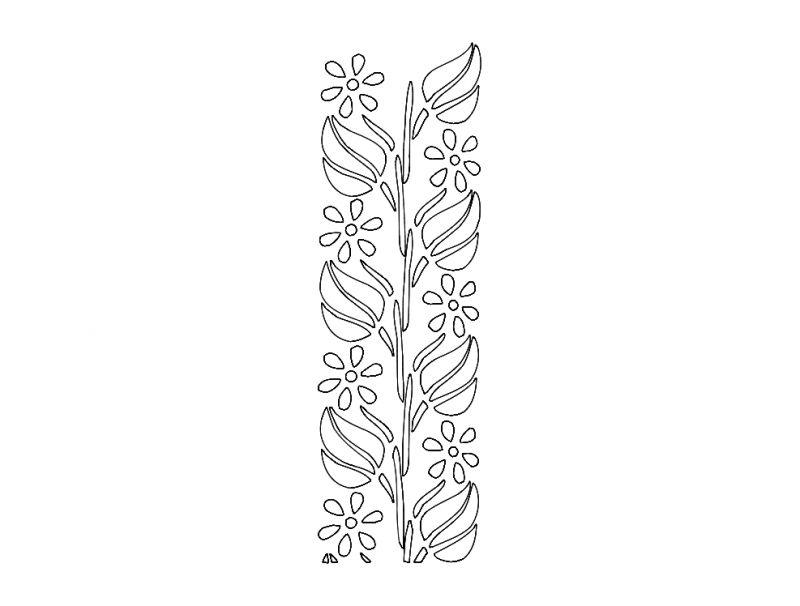 Laser Cut Floral Border Pattern Design Free DXF File