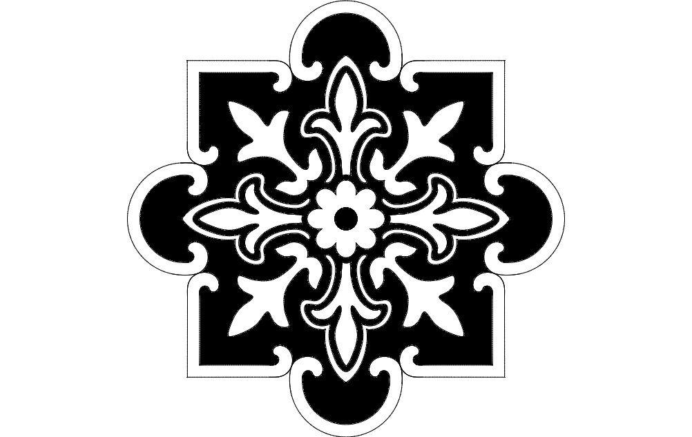 Laser Cut Floral Pattern Decorative Art Free DXF File