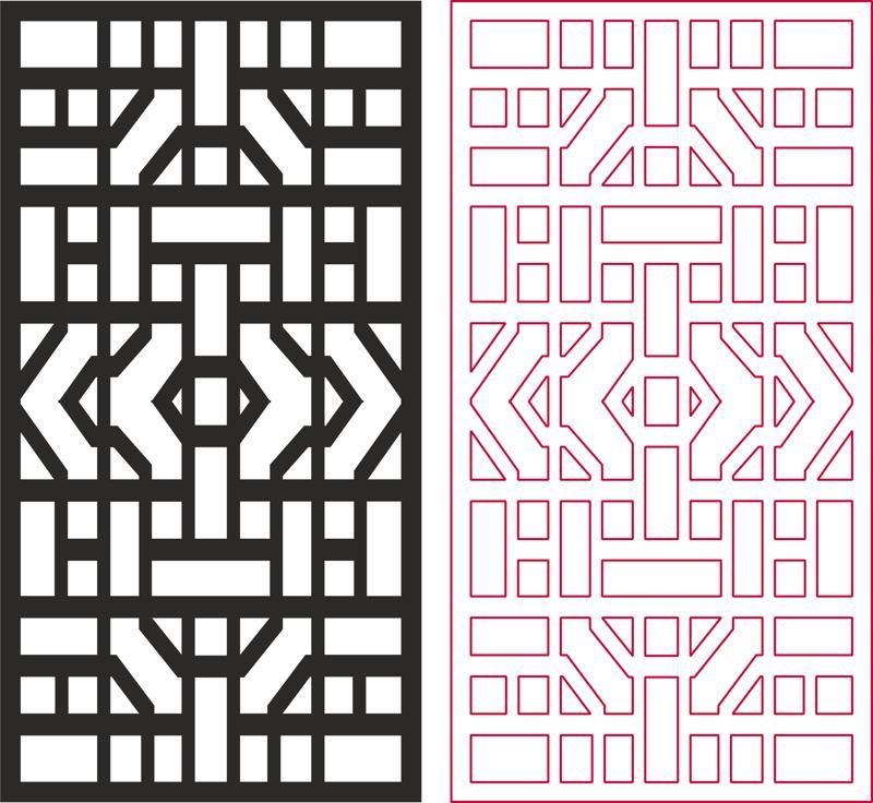 Laser Cut Geometric Jali Pattern Design Free DXF File