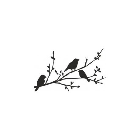 Birds On Branch Silhouette Stencil Free DXF File