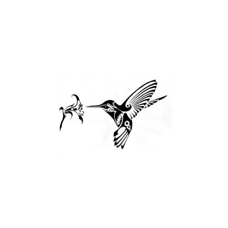 Humming Bird And Flower Art Free DXF File