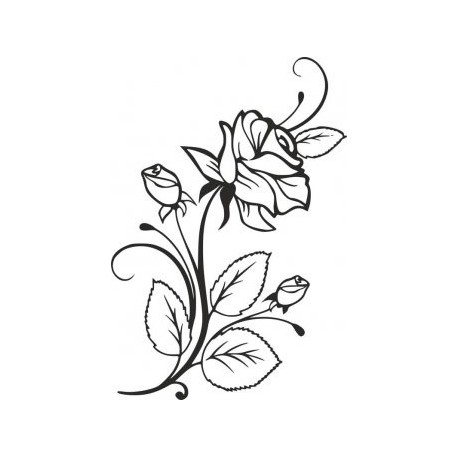 Rose And Rosebuds Beautiful Flower Stencil Free DXF File