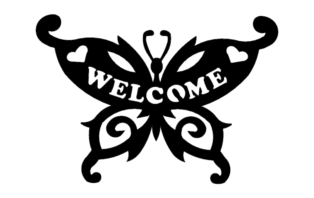 Butterfly Welcome Free DXF File