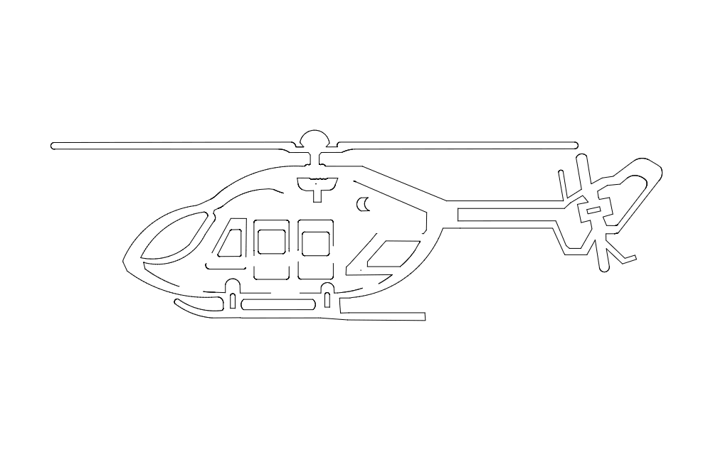 Chopper Helicopter Free DXF File
