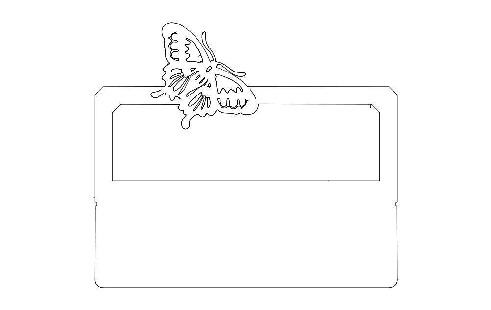 Desk Nameplate With Butterfly Free DXF File