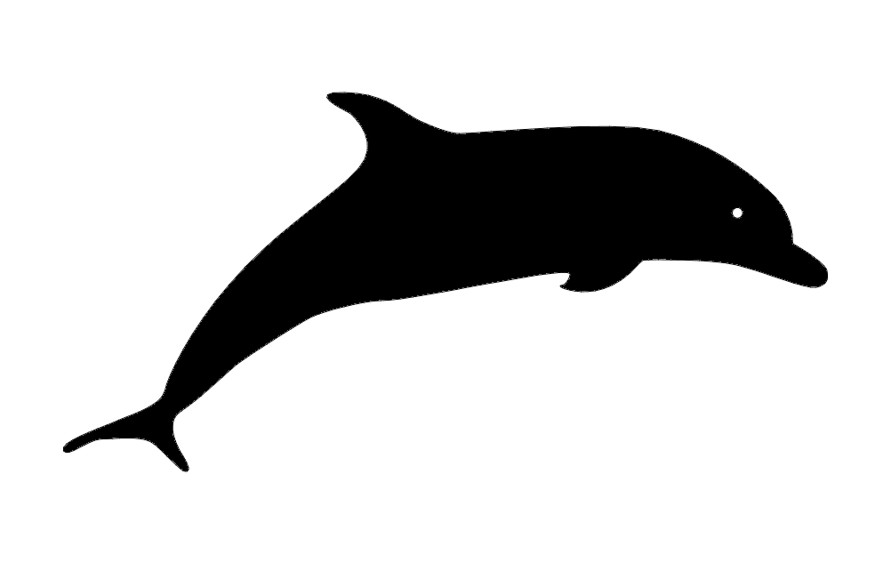 Dolphin Silhouette jumping Free DXF File