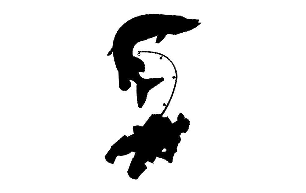 Fisherman Catching Fish Free DXF File