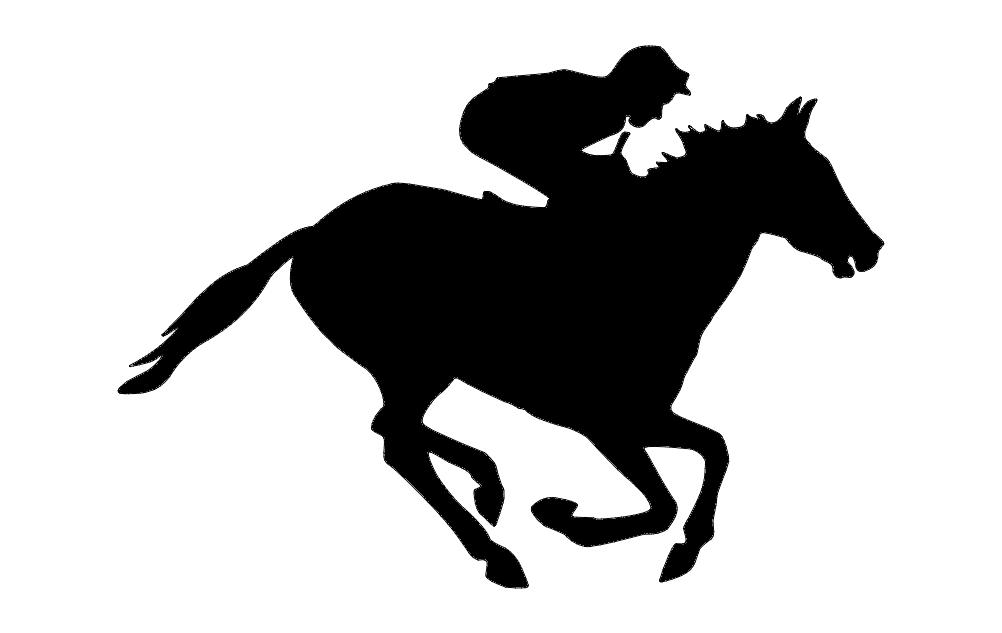 Jockey Horse Silhouette Free DXF File
