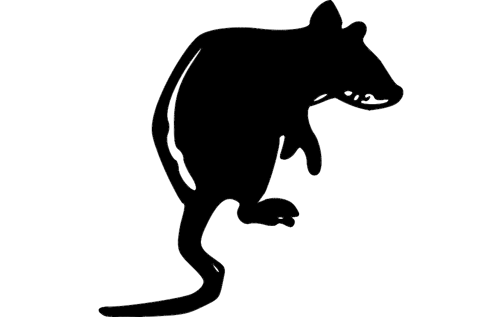 Rat Silhouette Black 445 Free DXF File