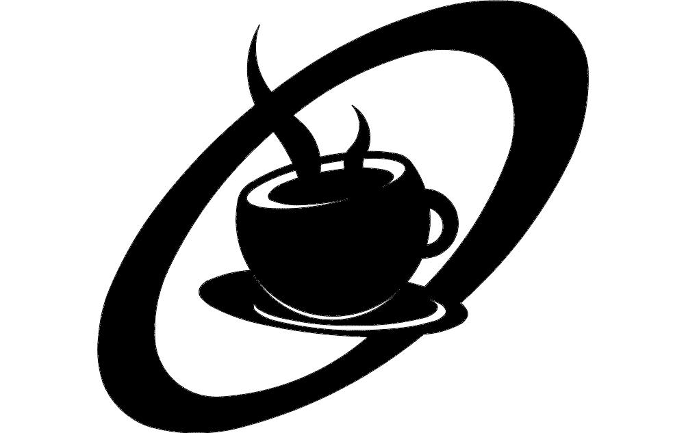 Retro Coffee Cup Free DXF File