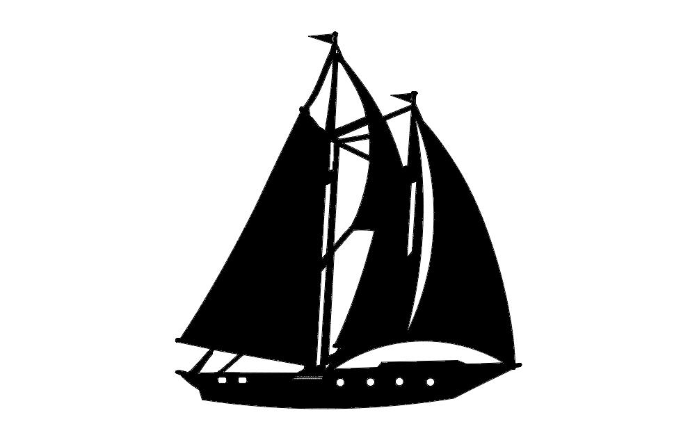 Schooner Boat Free DXF File