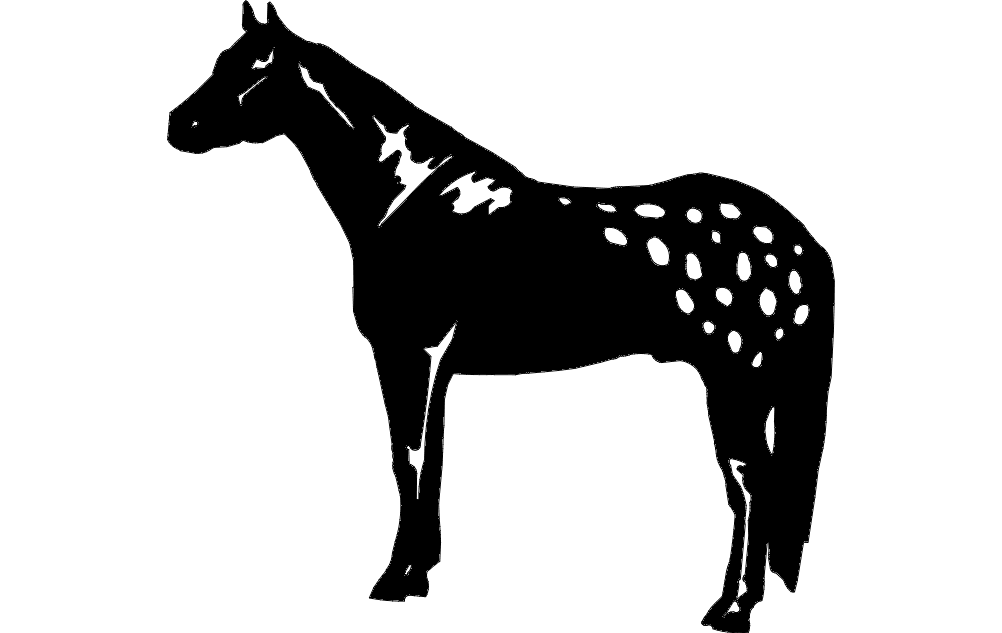 Silhouette Horse Standing Free DXF File