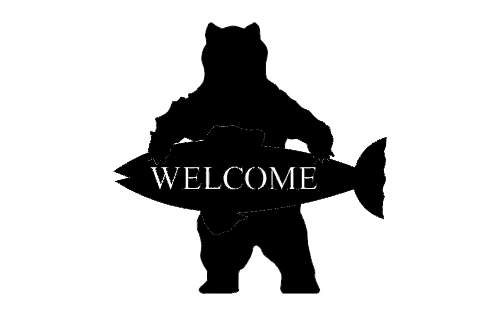 Welcome Bear Fish Free DXF File