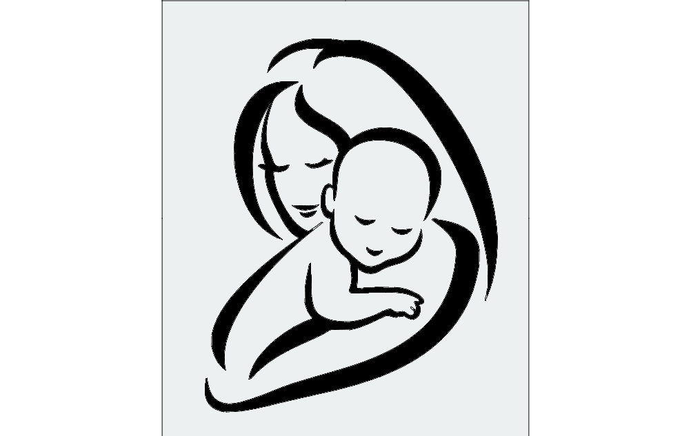 Woman With Baby Image Free DXF File