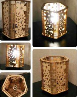 Flower Lamp For Laser Cut Cnc Free CDR Vectors Art