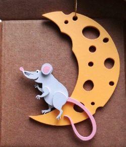 Mouse With Moon For Laser Cut Free CDR Vectors Art