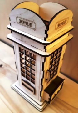 Phone Booth Pen Holder For Laser Cut Free CDR Vectors Art