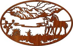 Picture Of Two Horses In The Field For Laser Cut Cnc Free CDR Vectors Art
