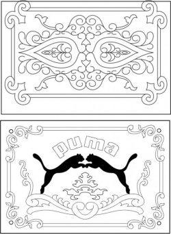 Puma Decorative Frame For Laser Cut Cnc Free CDR Vectors Art