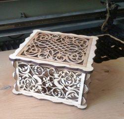 Rose Wood Box For Laser Cut Free CDR Vectors Art
