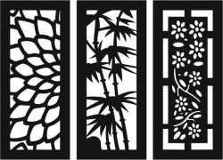 Sample Baffle Of Flowers And Bamboo For Laser Cut Cnc Free CDR Vectors Art