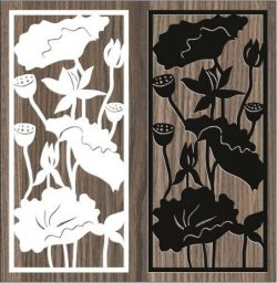 Screen Of The Lotus In The Lake For Laser Cut Cnc Free CDR Vectors Art