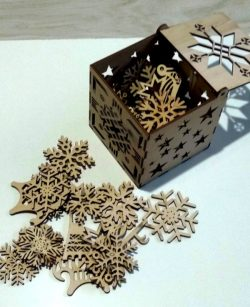Box Of Snow And Toys For Laser Cut Free CDR Vectors Art