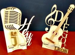 Guitar And Microphone For Laser Cut Free CDR Vectors Art