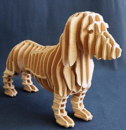 3d Puzzle Dog For Laser Cut Free DXF File