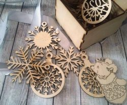 Box With Pine Ornaments For Laser Cut Free DXF File